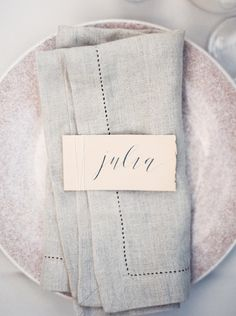 Rustic Lavender Fall Inspiration - Featured on Grey Likes Weddings. Photo by Maria Lamb. Place card by Cast Calligraphy.