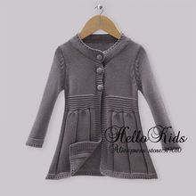 Infant Autumn Sweater For Girls Fall Sweater Kids Dark Grey Long Jacket Baby Christmas Wear Hot Sellers OC30916-17^^HK(China (Mainland))