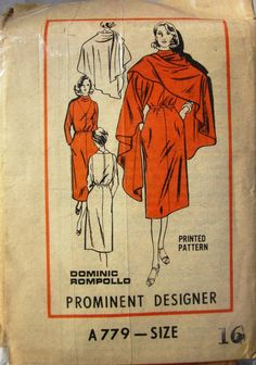 Mail Order A779 Rompollo Dress Cape Pattern1970s by Denisecraft, $5.99