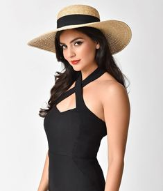 Vintage Style Tan Straw & Black Ribbon Sun Hat