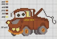 Cars rusty x-stitch Disney Cross Stitch Patterns, Counted Cross Stitch Patterns, Cross Stitch Charts, Cross Stitch Embroidery, Pixel Crochet Blanket, Crochet Chart, C2c Crochet, Crochet Stitches, Cross Stitch Fairy