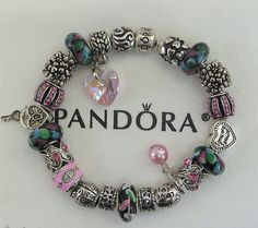 """Authentic Pandora Sterling Silver Bracelet, Receipt, Gift Box, 22 European Beads/Charms  """"FREE Shipping, FREE Grab-Bag"""""""