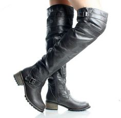 Gray Over The Knee Buckle Riding Flat Boots