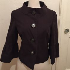 TopShop London Brown Herringbone Blazer Purchased at TS London. Perfect condition. Nice feminine staple piece. 3/4 sleeves. SZ. 40/12 brown/black herringbone. 100% cotton. Topshop Jackets & Coats Blazers