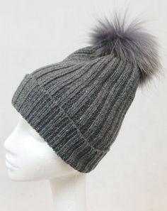 6085622eceb74 JESSIMARA ALL GREY WOOL HAT WITH FUR POM POM Fur Accessories