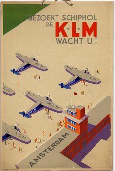 1931 - KLM servicio aéreo a Amsterdarm. Vista aérea oblicua de seis aviones Fokker trimotor simplificados.
