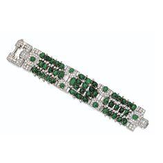 Cabochon emerald and diamond bracelet, Van Cleef  Arpels, circa 1935