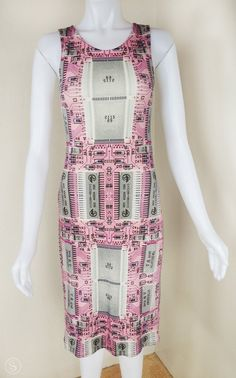Pink Circuit Print Cocktail Dress Organic Cotton by Shenova, $115.00