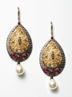 Bochic | 14K gold and sterling silver filigree earrings with rose cut diamond, tourmaline, and south sea pearl drop accents