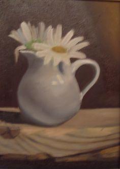 """oil on canvas.8""""x6"""".blue daisy."""