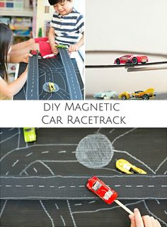 Build an easy cardboard magnetic car racetrack. Fun way to teach kids about magnetic forces!