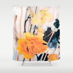 Nostalgic(3). Shower Curtain #showercurtains #society6 #yellow #elegant #white #romantic #bathroom #textile #homedesign #blue #flowers