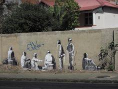 """""""The Long Wait"""", Johannesburg, South Africa, 2012 3d Street Art, Street Art Graffiti, Street Artists, Melrose Arch, South Africa Art, Art Base, Visual Effects, Banksy, African Art"""