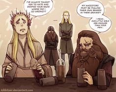 Thranduil and Gloin drowning their own sorrows in every kind of liquor… like two old friends(?)