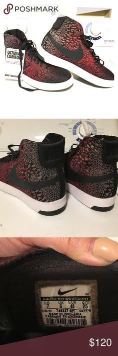 New Nike ombré red silver snake skin sexy shoes Size 7 women fit. Please refer to the pic for the tag sizing 7. Never never worn. Super cute and sexy for this spring and summer. Paid over $120 for them but never had a chance to wear them. My loss is your gain Nike Shoes