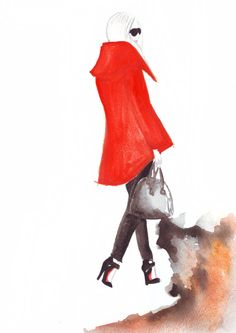 Watercolour fashion illustration Titled Walking by FallintoLondon