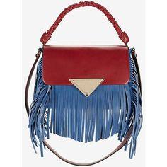 Sara Battaglia Amber Red Handle Fringe Satchel: Blue (3,155 BAM) ❤ liked on Polyvore featuring bags, handbags, red leather purse, genuine leather handbags, leather fringe handbag, leather handbags e red leather satchel