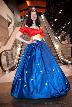 GOLD CINCHER! What a brilliant idea. ~ A Stunning Wonder Woman Ball Gown [Cosplay]