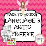 Back To School Language & Articulation Freebie