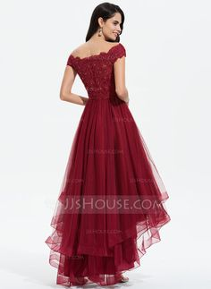 A-Line Off-the-Shoulder Asymmetrical Tulle Prom Dresses With Beading Sequins Bow(s) - JJ's House Tulle Bridesmaid Dress, Homecoming Dresses, Affordable Prom Dresses, Cheap Evening Dresses, Frock Design, Tulle Wedding, Wedding Dresses, Formal Dresses, Sequins