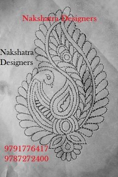 Hand Embroidery Design Patterns, Embroidery Works, Embroidery Motifs, Best Embroidery Machine, Hand Embroidery Videos, Hand Embroidery Tutorial, Design Art Drawing, Bridal Blouse Designs, Fabric Painting