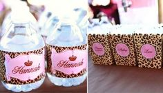 Printable Water Bottle Labels and favor bags.