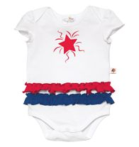 Tiny Tillia Stars and Stripes Bodysuit A double ruffle gives this bodysuit major star-spangled style. Snap closure. Cotton. Machine wash. Imported.