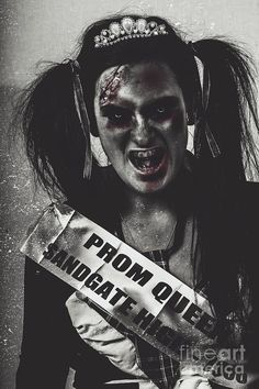Vintage horror portrait of Ms Sandgate High teen prom queen 1956 screaming in pigtails, homecoming shawl and crowned pearl tiara. I killed the prom queen by Ryan Jorgensen
