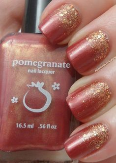 Pomegranate nail lacquers Autumnesque and Blue Screen of Death swatches