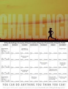 30 Day Abs Challenge Tracker