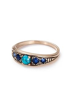 Turquoise and Sapphire Band in 14k Rose Gold by Arik Kastan