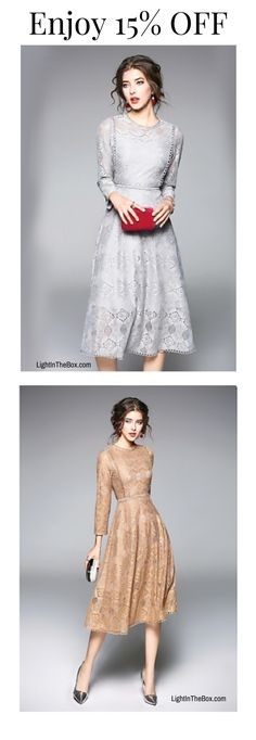 Casual elegant vintage lace dress in beige and bluish-grey colours at just $32.72. Click to shop now!