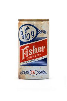 Fisher Lager beer can Vintage Bottles, Vintage Tins, Vintage Labels, Beer Can Collection, Old Beer Cans, Beers Of The World, Vintage Packaging, Packaging Design, Lager Beer