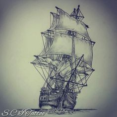 Ship tattoo sketch by - Ranz