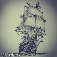 Ship tattoo sketch by - Ranz