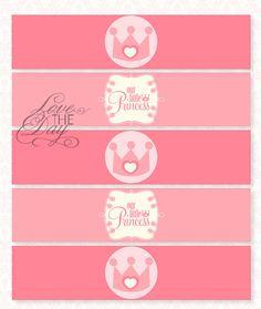 Pink Princess Party PRINTABLE Drink Labels INSTANT por lovetheday