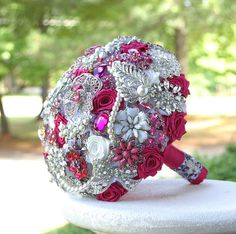 Pink Wedding Brooch Bouquet. Deposit on made to order Magenta Crystal Pink Heirloom Bridal Broach Bouquet
