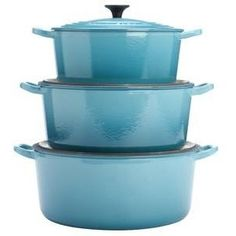 Le Creuset. I want one in every single size. Either this blue or the yellow. Cooks evenly, every time!