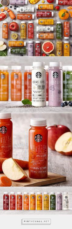 Graphic design, illustration and packaging for Starbucks Juice & Yogurt on Behance by Eulie Lee Seoul, Korea curated by Packaging Diva PD. Korea's ready-to-drink is a healthy alternative. Juice Branding, Juice Packaging, Beverage Packaging, Bottle Packaging, Brand Packaging, Yogurt Packaging, Food Packaging Design, Juice Bottles, Bottle Design