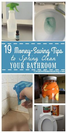 19 must-have bathroom cleaning hacks for spring cleaning your bathroom. Homemade toilet bowl cleaner, granite cleaner, shower spray, mold and mildew remover, and more!