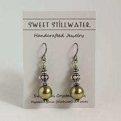 Green Earrings Swarovski Pearl Earrings Light by SweetStillwater