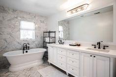 White master bathroom, calacatta marble, oil rubbed bronze hardware