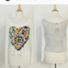 Love Is All cute crop top White with multi colored heart.. very light weight and cool for summer April Spirit Tops Crop Tops