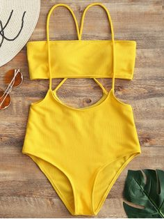 Shop for Bandeau Top and High Waisted Slip Bikini Bottoms YELLOW: Bikinis S at ZAFUL. Only $15.99 and free shipping!