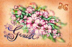 Disegno floreale anemoni e segno Gemelli