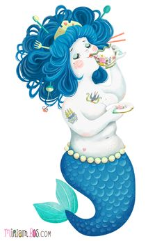 The mermaid likes her tea - by Miriam Bos | #illustration #miriambos #mermaid