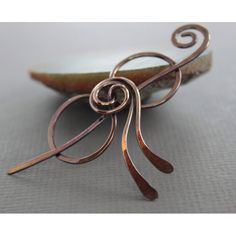 Shawl pin or scarf pin in copper rose bud bow design - As seen in Vogue Knitting Early Fall 2015