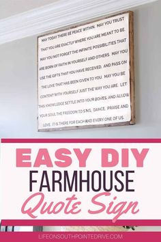 Easy DIY Farmhouse Quote Sign | DIY Wall Decor | DIY Farmhouse Signs | DIY Wall Quote Signs | DIY Wood Sign with Calligraphy | #quotesign #farmhousesigns Diy Gifts Art, Make A Quote, Diy Wood Signs, Sell Diy, Diy Home Decor Projects, Vintage Diy, Diy On A Budget, Diy For Teens, Diy Wall Decor