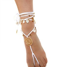 Bridal barefoot sandals for a beach #boho summer wedding.  Wear these sandals at the beach, pool or with your favorite high heels.   The sandals are one size.  The price for... #handmade #jewelry #etsy #epiconetsy #shopping #shopsmall #jewelryonetsy #etsyseller #crochet #anklet #white #gold