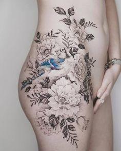 Splendid Feminine Tattoo Design on Hip by tritoan__seventhday